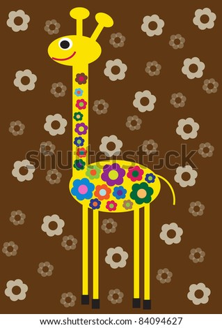 funny vector illustration of flower giraffe,creative computer graphic design with natural theme,animal - stock vector