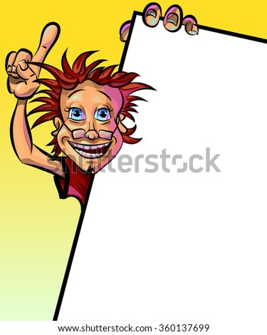 Funny vector illustration of smiling man holding blank poster and showing his index finger. May be used as an advertisement. Made in comic cartoon style. - stock vector