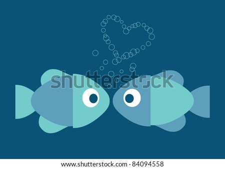 funny vector illustration of two fish in love and heart made of bubbles - stock vector