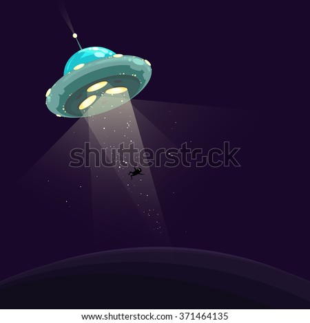 Funny vector illustration of UFO abduction. Spaceship abducting a man.  - stock vector