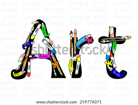 Funny vector illustration with hand drawn artist's items - colors, pencils, brushes, rubbers in cartoon style - and word Art.  - stock vector