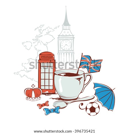 Funny vector  illustration with symbols of United Kingdom -- English tea