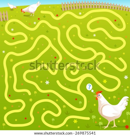 "Funny Vector Maze Game: Alone ""Free Range"" Cartoon Chicken find his Family in the Fields. Farm Style Illustration - stock vector"