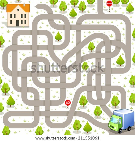Funny Vector Maze Game: Delivery Truck Find the Way to the Building. Tangled Road and Delivery Service - stock vector