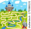 Funny Vector Maze Game: the Brave Warrior Find the Way to the Castle. (Vector Illustration EPS8) Help to Funny Knight! - stock photo