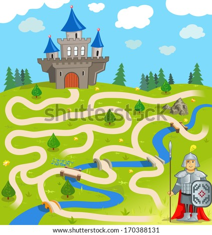 Funny vector maze game: the brave warrior find the way to the castle. (vector Illustration EPS8) - stock vector