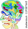 funny vector of doodle abstract head in colors - stock vector