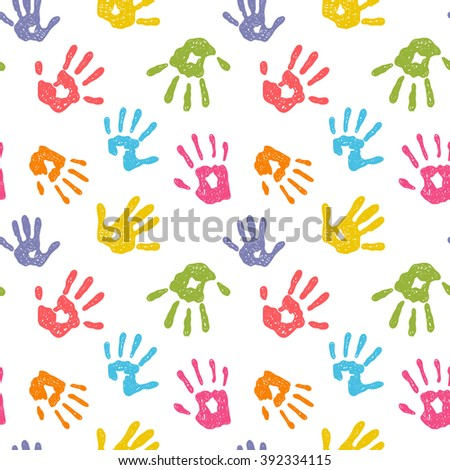 Funny vector seamless background with colorful hand prints