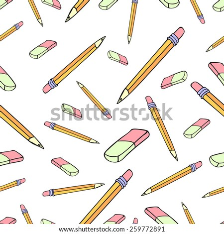 Funny vector seamless pattern with hand drawn pencils and rubbers. Cartoon style, on isolated background. Could be used as print for web, textile or paper - stock vector