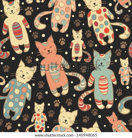 Funny vector seamless pattern with smiling cats on the dark background