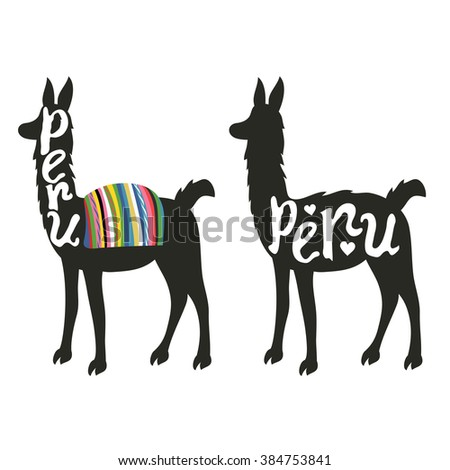 Funny vector set illustration with llama silhouette. PERU lettering - stock vector