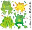 Funny vector set of cute frogs - stock photo