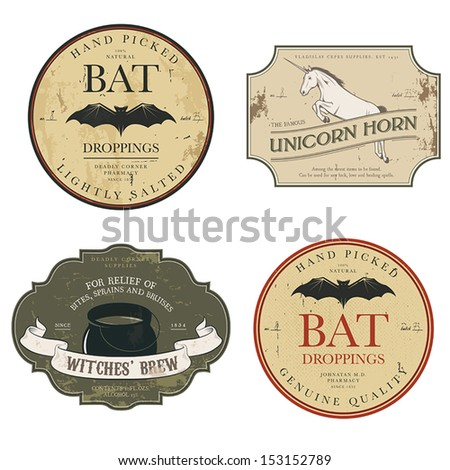Funny vintage colored Halloween potion labels - stock vector