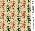 Funny vintage seamless pattern of Jokers - stock photo