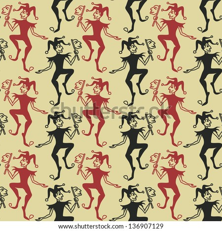 Funny vintage seamless pattern of Jokers - stock vector