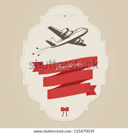 Funny vintage wedding invitation with retro aircraft dragging cans. Place for custom text. - stock vector
