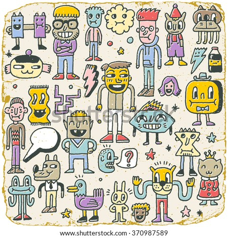 Funny Wacky Doodle Characters Set 7. Vintage Texture. Vector Illustration. - stock vector