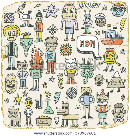 Funny Wacky Doodle Characters Set 9. Vintage Texture. Vector Illustration. - stock vector