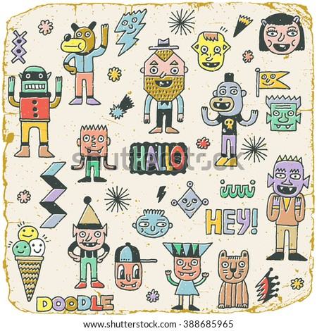 Funny Wacky Doodle Characters Set 18. Vintage Texture. Vector Illustration. - stock vector