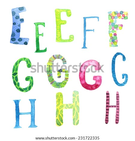 Funny watercolor hand drawn font. Vector letters set E-H. - stock vector