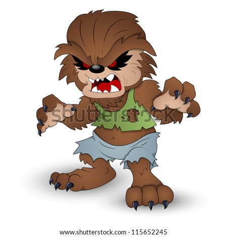 Funny Werewolf Vector Illustration - stock vector
