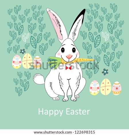 funny white Easter rabbit