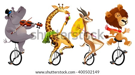 Funny wild animals on unicycles. Vector cartoon isolated characters - stock vector