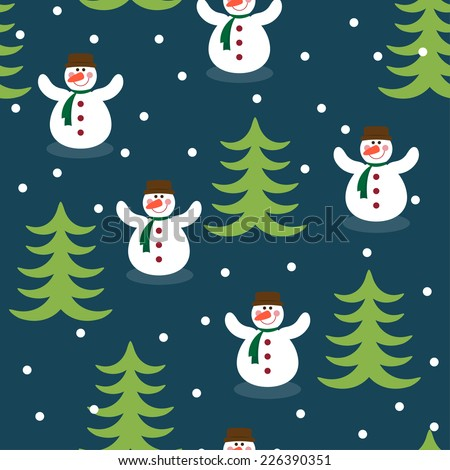 Funny winter holiday pattern background with snowman, fir and snowflakes on dark blue cover  - stock vector