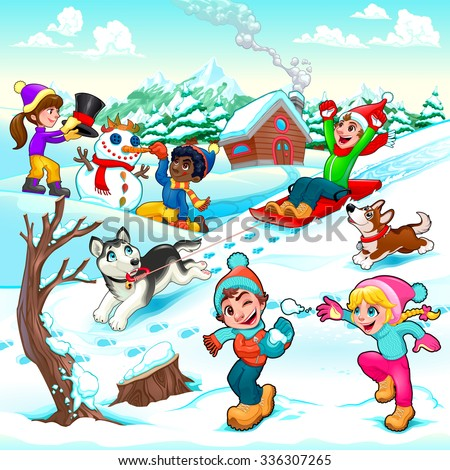 Funny winter scene with children and dogs. Cartoon vector illustration - stock vector