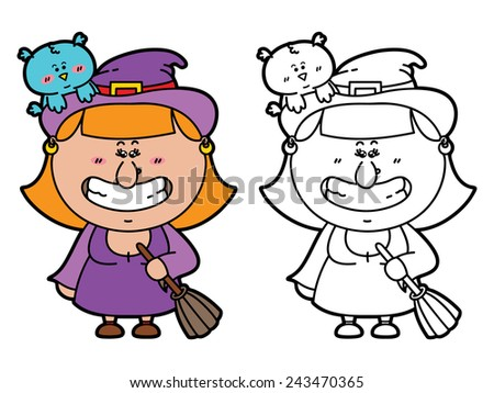 funny Witch. Vector illustration coloring page of happy cartoon Witch with broomstick  for children and scrap book