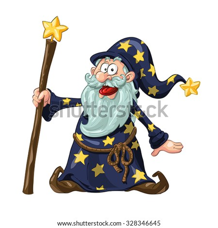 Funny Wizard With Magic Wand. Vector Illustration - stock vector