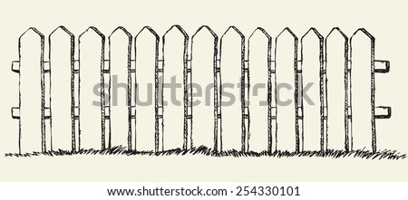 Funny wooden fence from flat slats, painted with white paint, enclosing garden with lush grass. Vector freehand ink drawn backdrop sketchy in scrawl antiquity style of pen on paper with space for text - stock vector