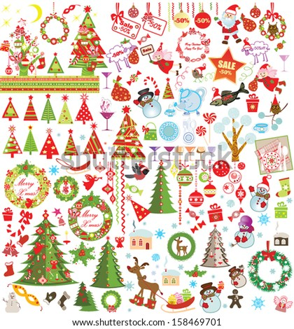 Funny Xmas set - stock vector