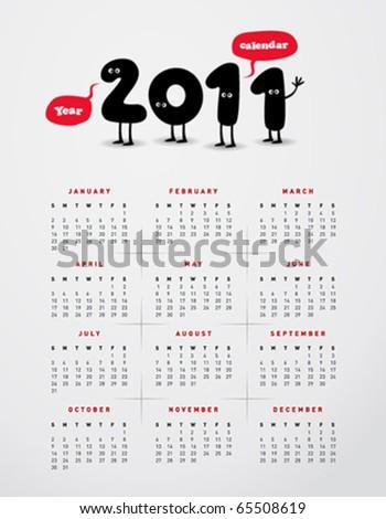 Funny year 2011 calendar - stock vector