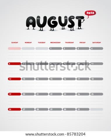 Funny year 2012 vector calendar August - stock vector