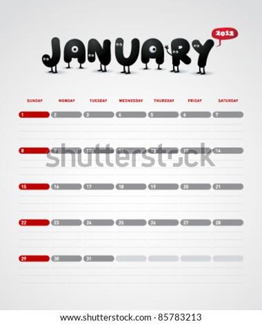 Funny year 2012 vector calendar January - stock vector