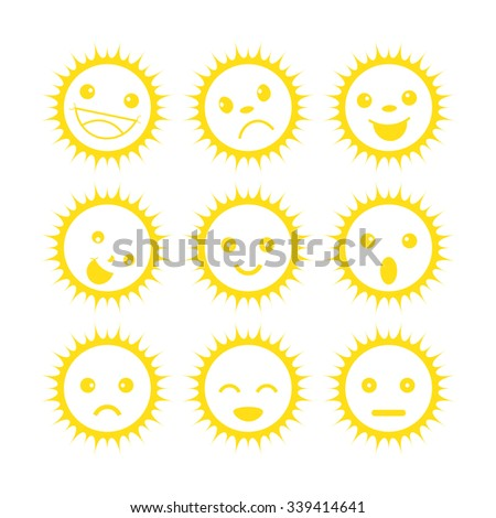 Funny yellow sun icons. set of different emotions - stock vector