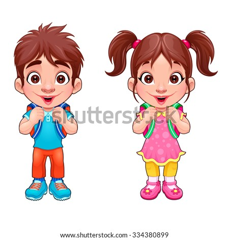 Funny young boy and girl students. Vector cartoon isolated characters. - stock vector
