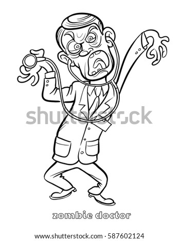 funny zombie doctor coloring page vector illustration - Doctor Coloring Page
