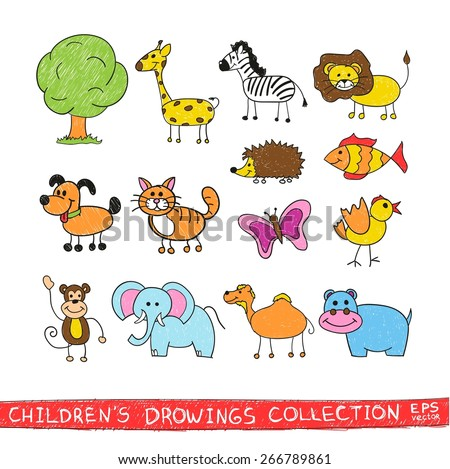 Funny zoo in child hand drawing image. Cartoon illustration of cute animals vector doodles set: bird, zebra, lion, giraffe, elephant, monkey, butterfly, cat, dog, fish, camel, hedgehog, hippopotamus. - stock vector