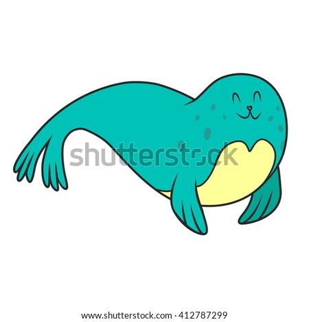 fur seal coloring book. vector illustration - stock vector