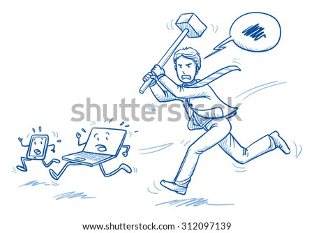 Furious business man chasing computer and smart phone with a hammer, concept of stress, burnout, headache, depression, hand drawn doodle vector illustration - stock vector