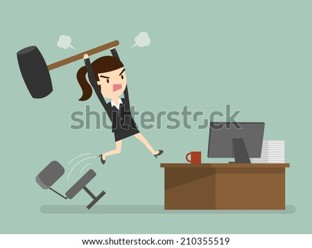 Furious frustrated business woman hitting the computer - stock vector