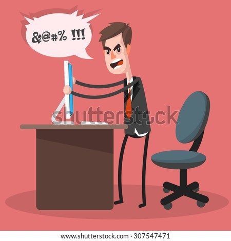Furious frustrated businessman hitting the computer. Cartoon character. Illustration in the style of the material design. - stock vector