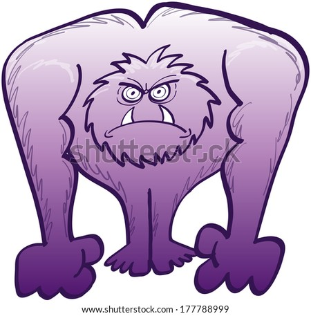 Furious gigantic furry purple monster while staring at someone and clenching its fists to be ready to fight - stock vector