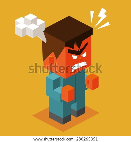 furious man with smoky head.vector illustration - stock vector