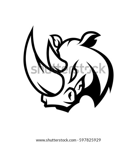 furious rhino head sport mono vector logo concept isolated on white background team badge