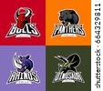 Furious rhino, panther, dinosaur, bull head isolated vector sport logo concept set. Modern badge mascot design. Premium quality wild animal t-shirt tee print illustration. Street racing team emblem.