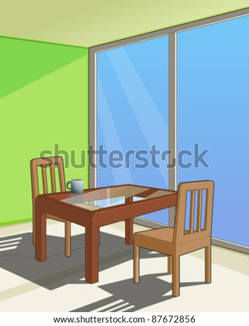 Furnished Room interior - stock vector
