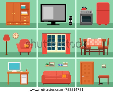furnishing interior set for rooms in home  concept interior icons with  furniture. Vector Collection Modern Flat Furniture Icon Stock Vector